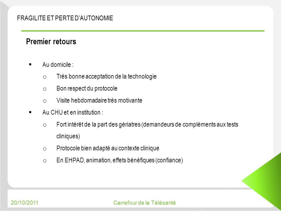 20/10/2011 Carrefour de la Télésanté Premier retours Au domicile : o Très bonne acceptation de la technologie o Bon respect du protocole o Visite hebd