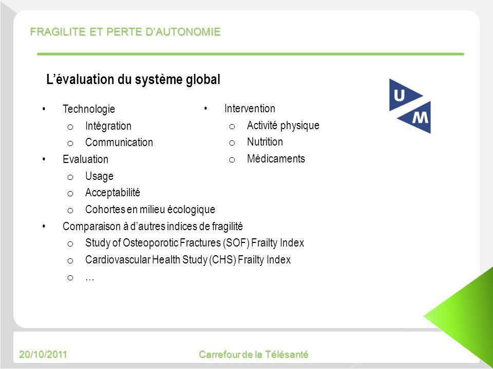 20/10/2011 Carrefour de la Télésanté Technologie o Intégration o Communication Evaluation o Usage o Acceptabilité o Cohortes en milieu écologique Comp