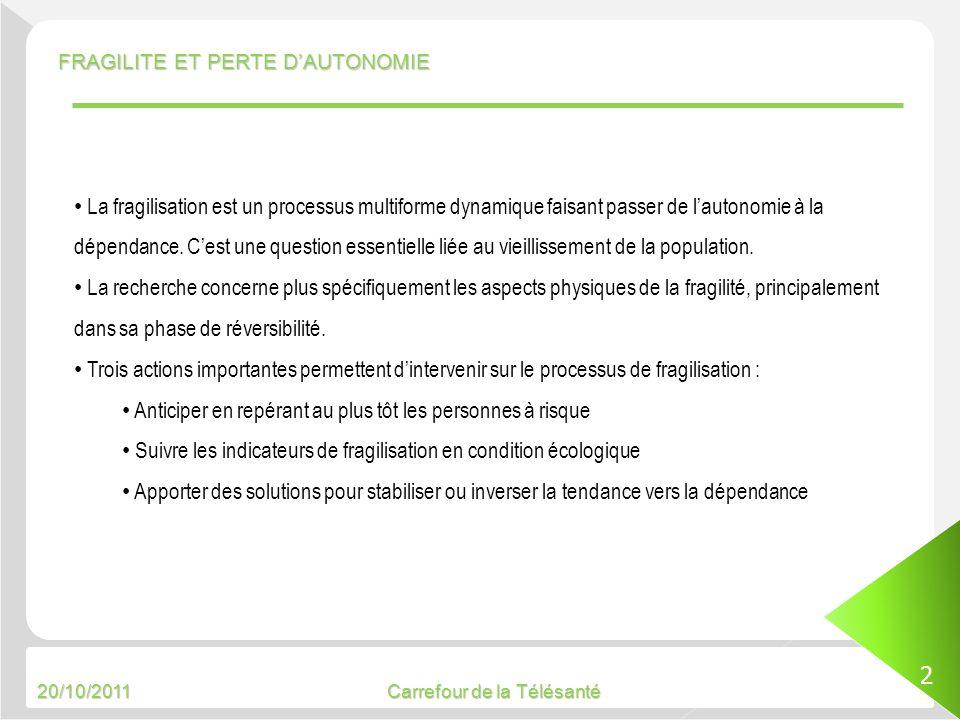 20/10/2011 Carrefour de la Télésanté FRAGILITE ET PERTE DAUTONOMIE 2 La fragilisation est un processus multiforme dynamique faisant passer de lautonom