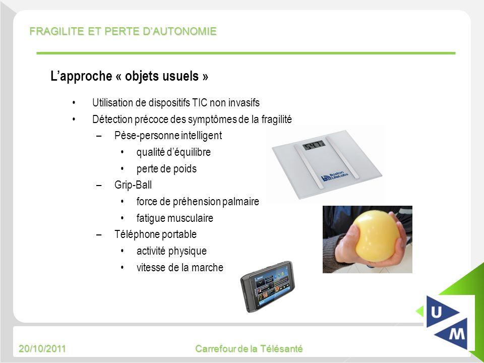 20/10/2011 Carrefour de la Télésanté FRAGILITE ET PERTE DAUTONOMIE 5 Utilisation de dispositifs TIC non invasifs Détection précoce des symptômes de la