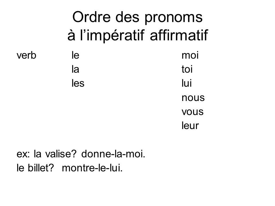 Ordre des pronoms à limpératif affirmatif verblemoi latoi leslui nous vous leur ex: la valise? donne-la-moi. le billet? montre-le-lui.