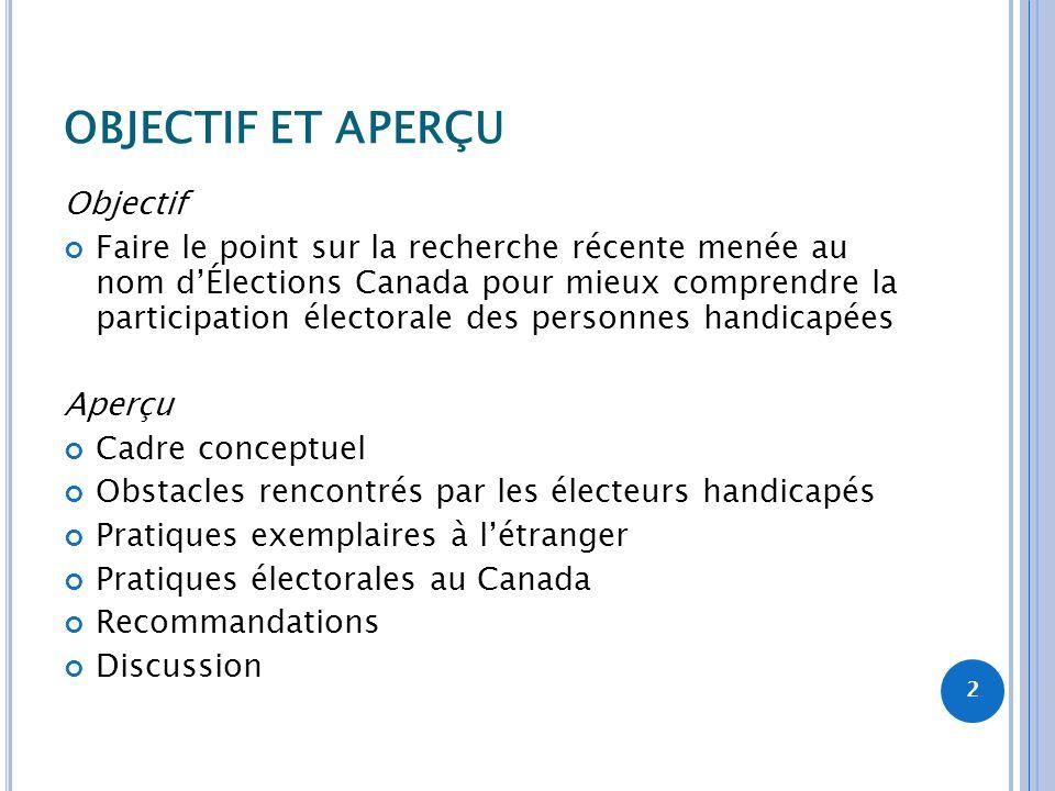 OBJECTIF ET APERÇU Objectif Faire le point sur la recherche récente menée au nom dÉlections Canada pour mieux comprendre la participation électorale d