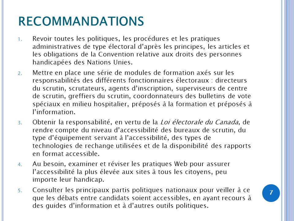 RECOMMANDATIONS 1. Revoir toutes les politiques, les procédures et les pratiques administratives de type électoral daprès les principes, les articles