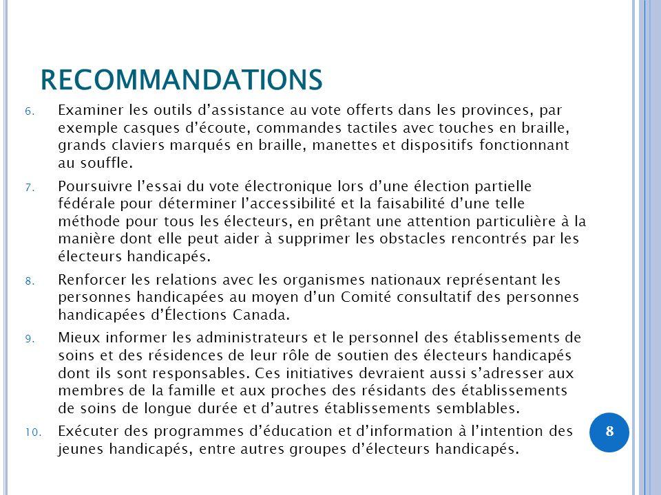 RECOMMANDATIONS 6. Examiner les outils dassistance au vote offerts dans les provinces, par exemple casques découte, commandes tactiles avec touches en