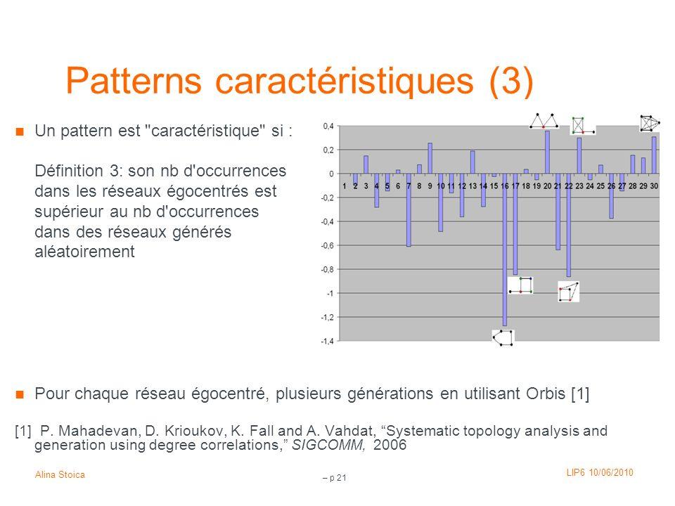 LIP6 10/06/2010 Alina Stoica – p 21 Patterns caractéristiques (3) Un pattern est