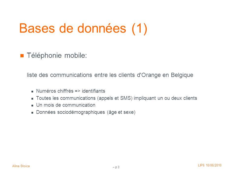 LIP6 10/06/2010 Alina Stoica – p 3 Bases de données (1) Téléphonie mobile: liste des communications entre les clients d'Orange en Belgique Numéros chi