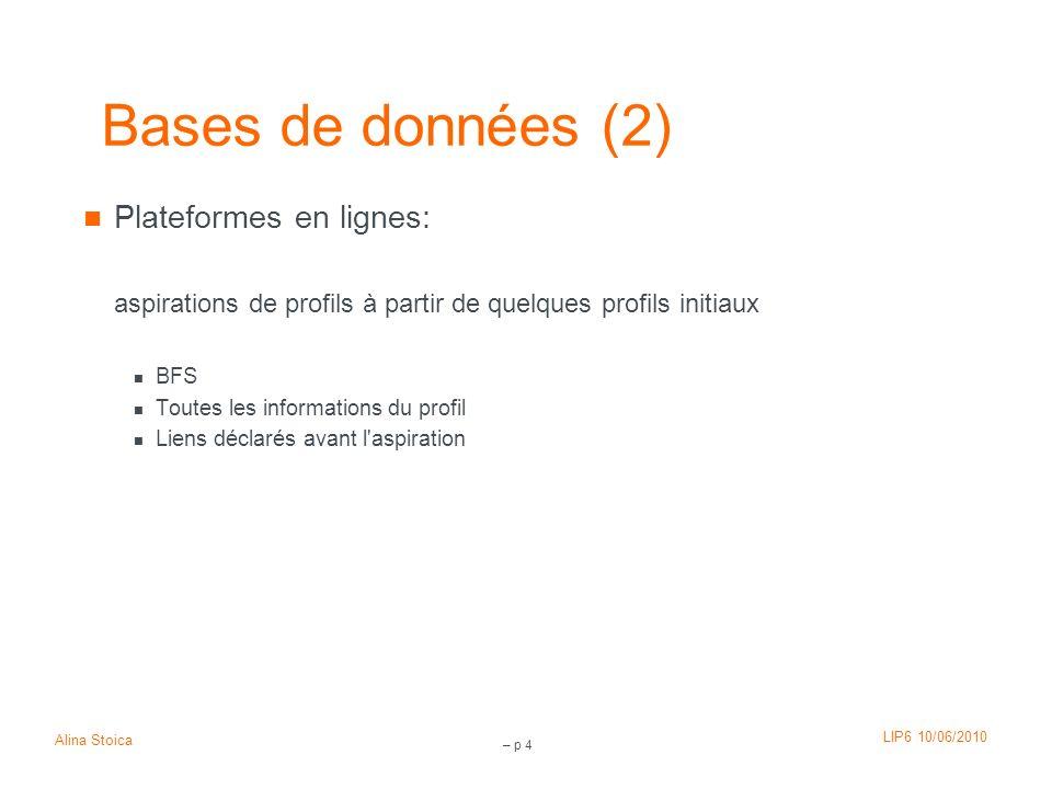 LIP6 10/06/2010 Alina Stoica – p 4 Bases de données (2) Plateformes en lignes: aspirations de profils à partir de quelques profils initiaux BFS Toutes