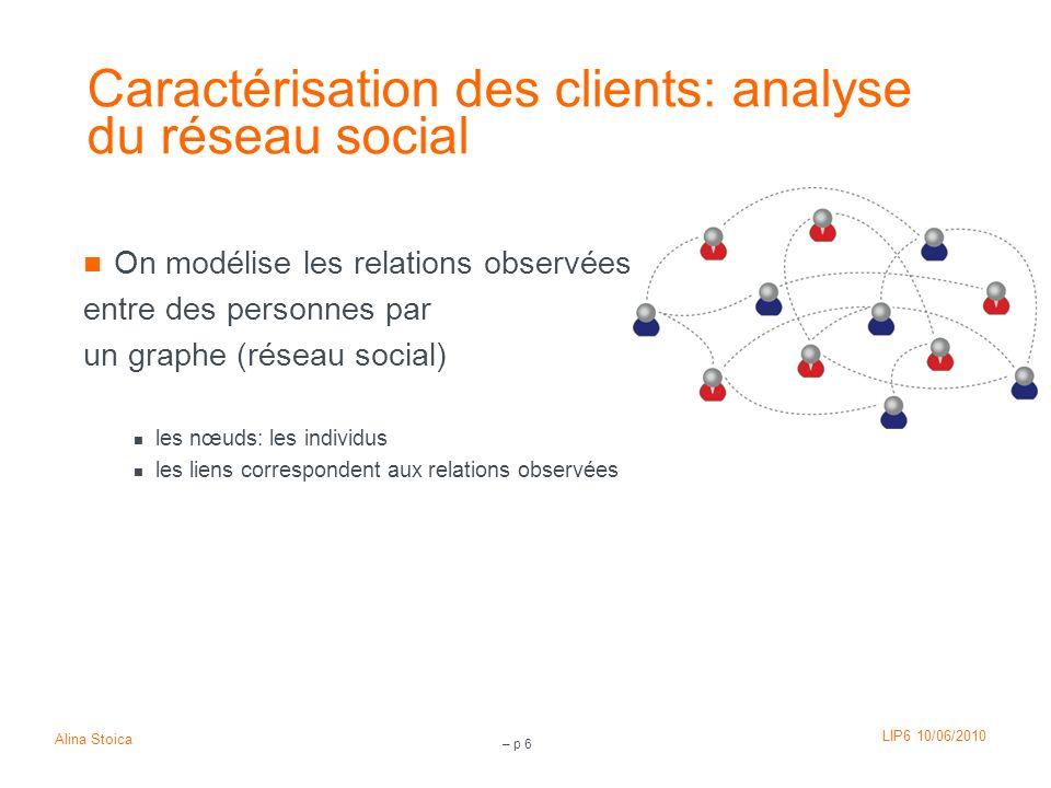 LIP6 10/06/2010 Alina Stoica – p 37 On peut envisager de Faire des catégories de nœuds pour grouper les nœuds qui se connectent de la même façon au réseau rôle identifier les nœuds spéciaux nœuds influents, leaders sociaux comparer à des caractéristiques exogènes au réseau prédiction Mesurer l évolution
