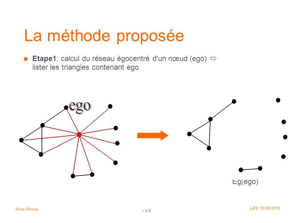 LIP6 10/06/2010 Alina Stoica – p 8 La méthode proposée Etape1: calcul du réseau égocentré d'un nœud (ego) lister les triangles contenant ego Eg(ego)
