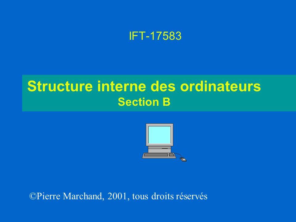Structure interne des ordinateurs Section B IFT-17583 ©Pierre Marchand, 2001, tous droits réservés