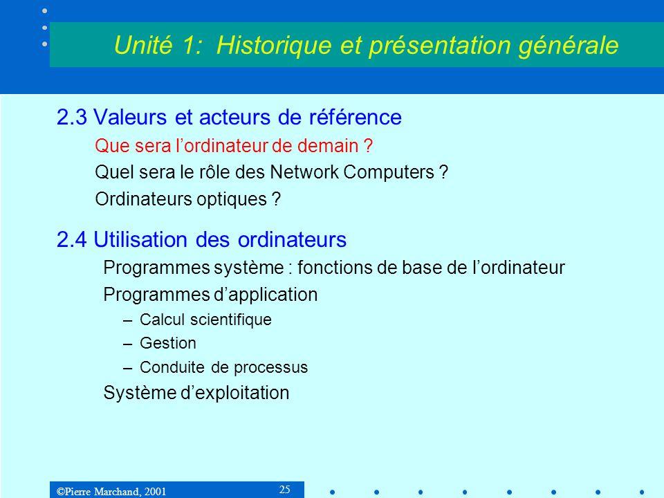 ©Pierre Marchand, 2001 25 Unité 1: Historique et présentation générale 2.3 Valeurs et acteurs de référence Que sera lordinateur de demain .