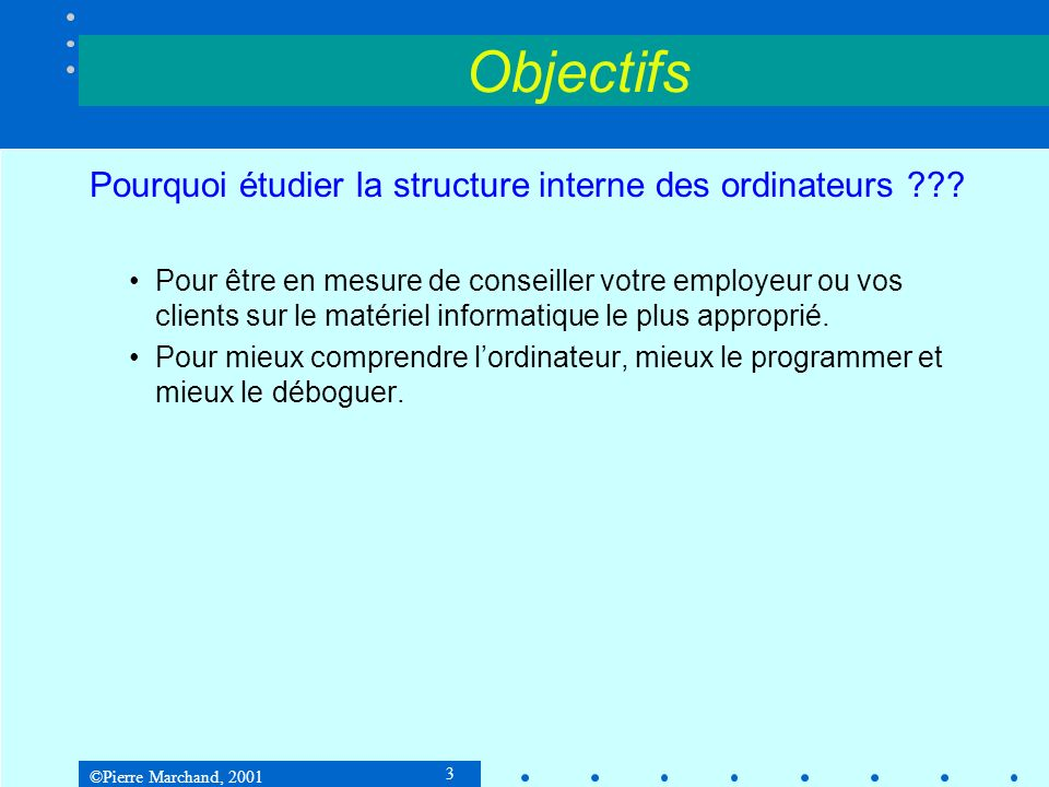 ©Pierre Marchand, 2001 24 Unité 1: Historique et présentation générale Principaux acteurs du monde de linformatique Intel IBM SGI Motorola Sun HP NEC Hitachi Fujitsu Apple Microsoft Oracle Netscape Cisco 3Com Bay Networks Novell Logiciel (Applications) Réseau (Networking) Traitement (Computing)