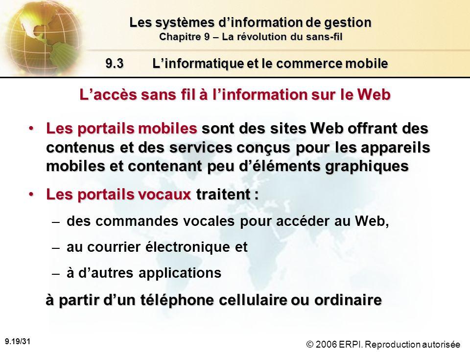 9.20/31 Les systèmes dinformation de gestion Chapitre 9 – La révolution du sans-fil © 2006 ERPI.