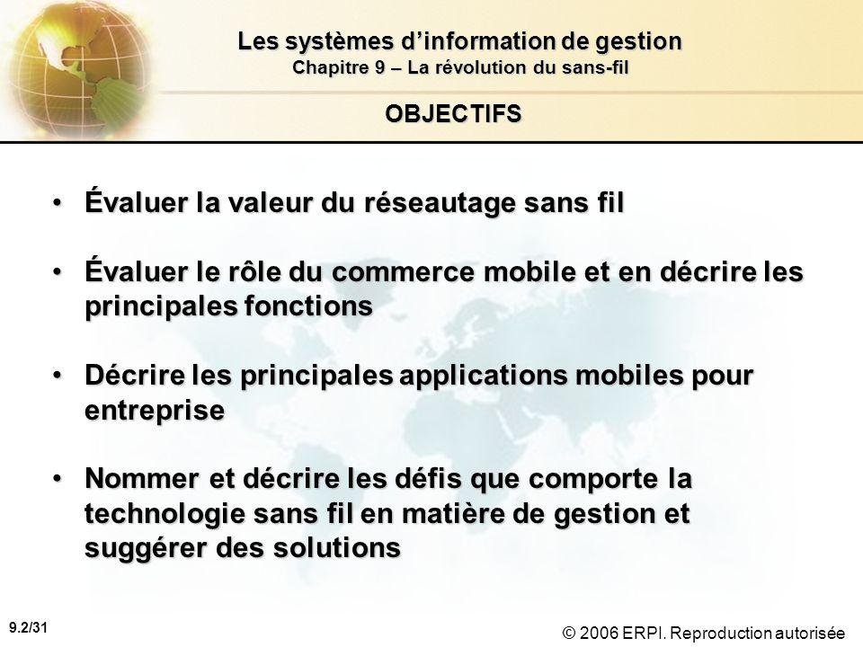 9.3/31 Les systèmes dinformation de gestion Chapitre 9 – La révolution du sans-fil © 2006 ERPI.