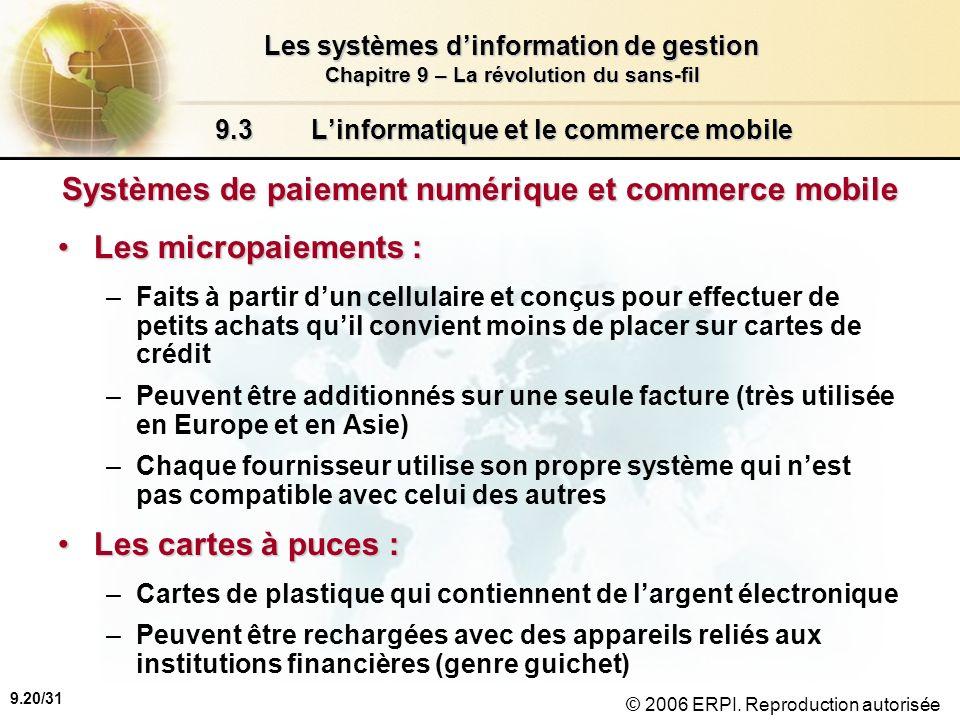 9.21/31 Les systèmes dinformation de gestion Chapitre 9 – La révolution du sans-fil © 2006 ERPI.