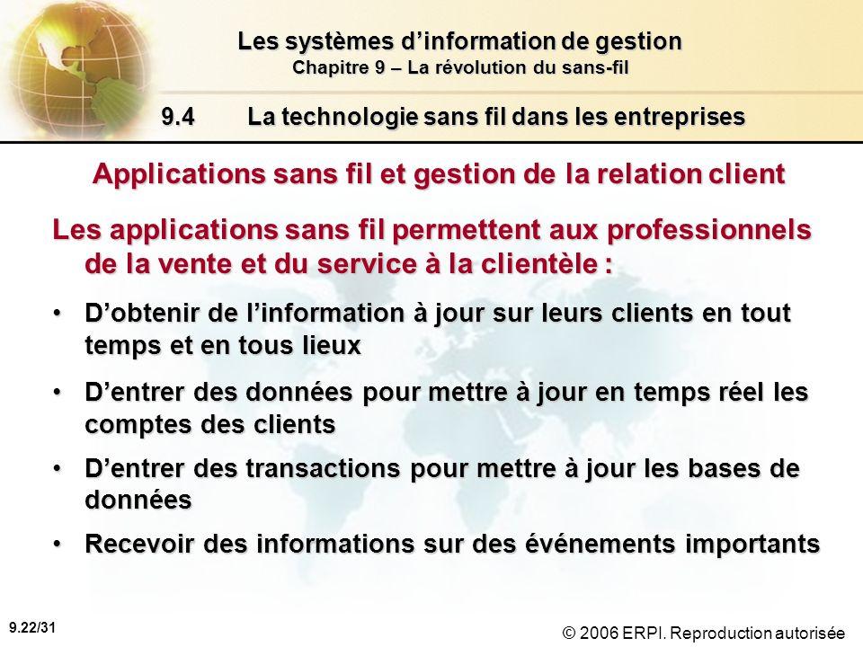 9.23/31 Les systèmes dinformation de gestion Chapitre 9 – La révolution du sans-fil © 2006 ERPI.