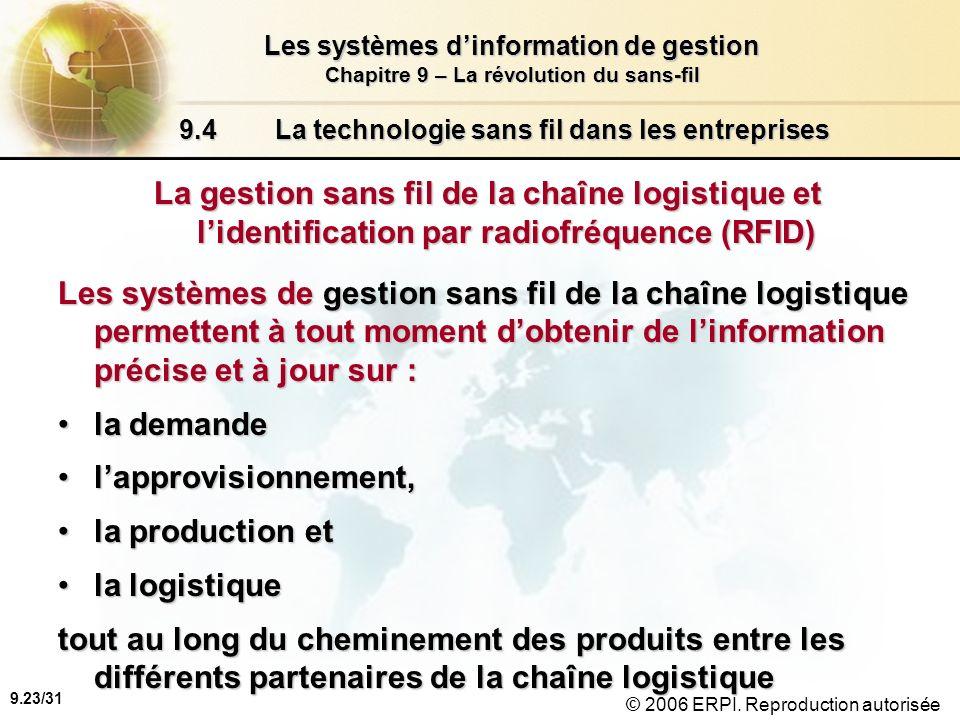 9.24/31 Les systèmes dinformation de gestion Chapitre 9 – La révolution du sans-fil © 2006 ERPI.
