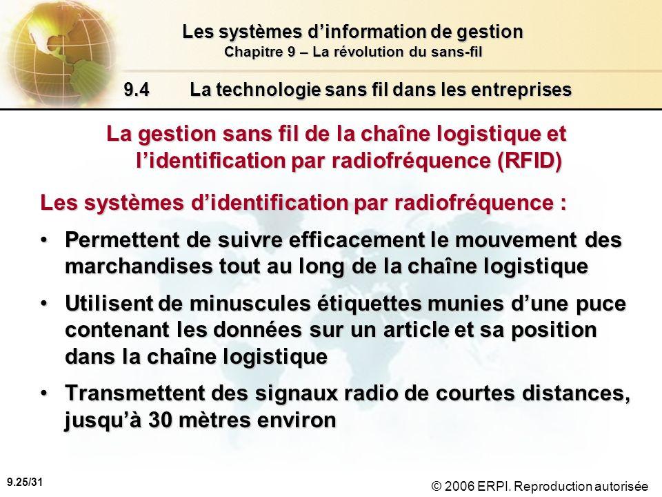 9.26/31 Les systèmes dinformation de gestion Chapitre 9 – La révolution du sans-fil © 2006 ERPI.