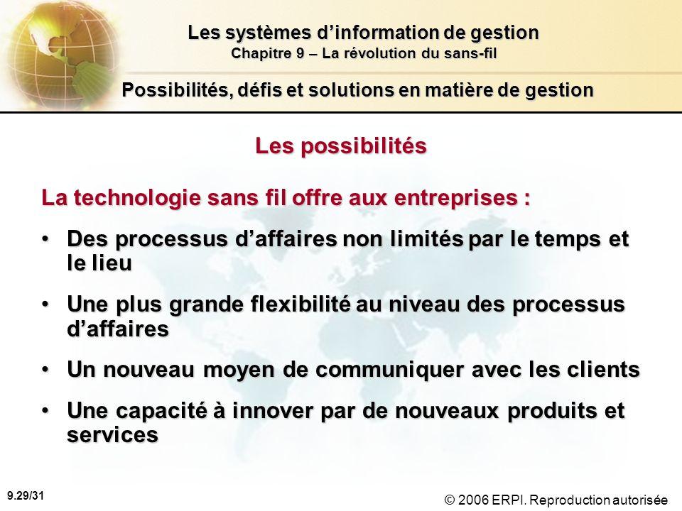 9.30/31 Les systèmes dinformation de gestion Chapitre 9 – La révolution du sans-fil © 2006 ERPI.