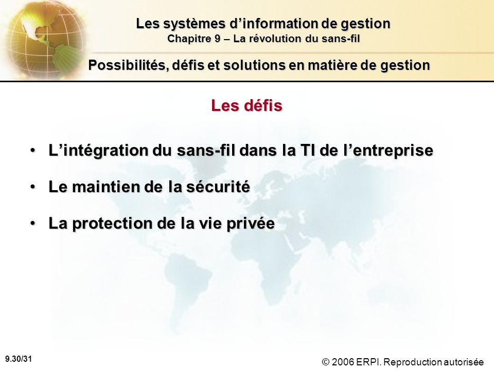 9.31/31 Les systèmes dinformation de gestion Chapitre 9 – La révolution du sans-fil © 2006 ERPI.