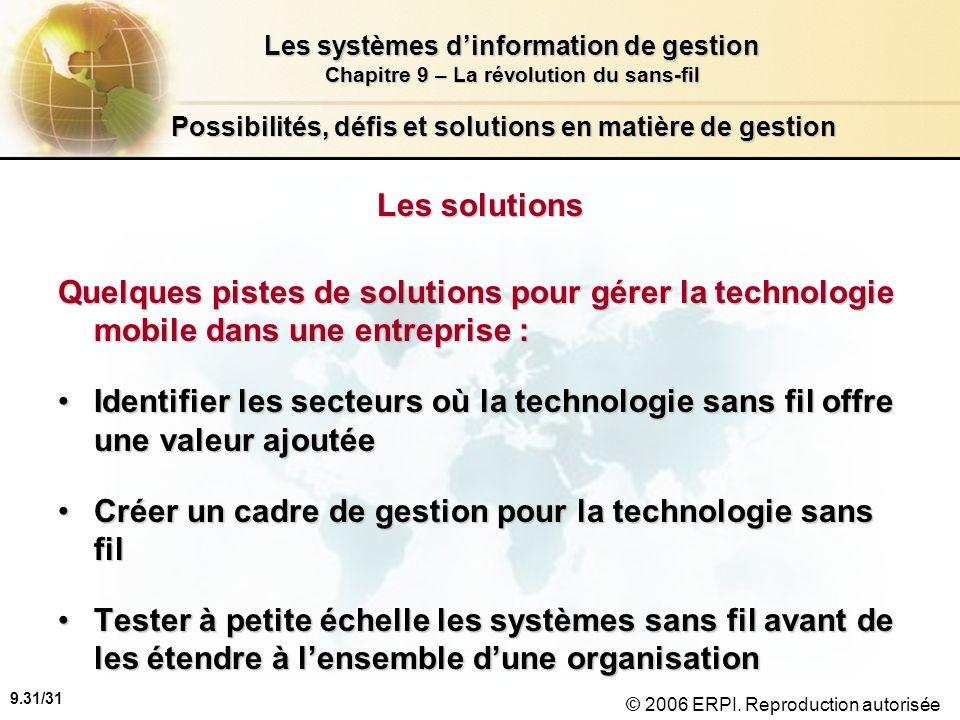 9.31/31 Les systèmes dinformation de gestion Chapitre 9 – La révolution du sans-fil © 2006 ERPI. Reproduction autorisée Possibilités, défis et solutio