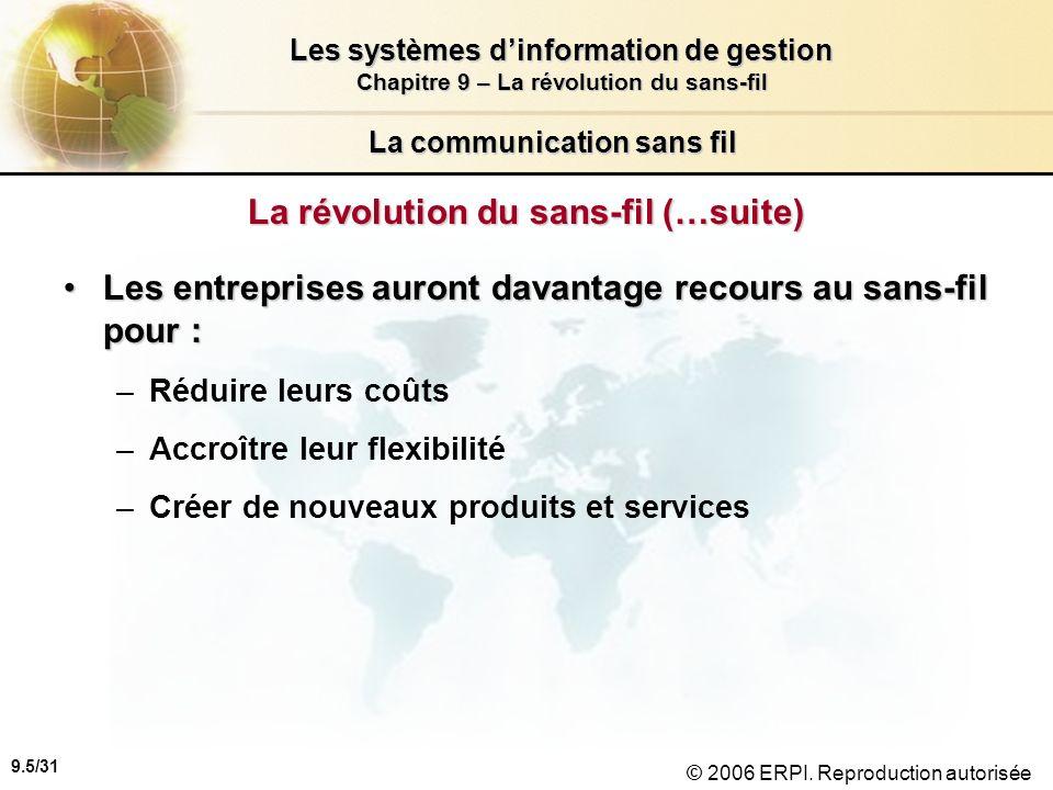 9.6/31 Les systèmes dinformation de gestion Chapitre 9 – La révolution du sans-fil © 2006 ERPI.