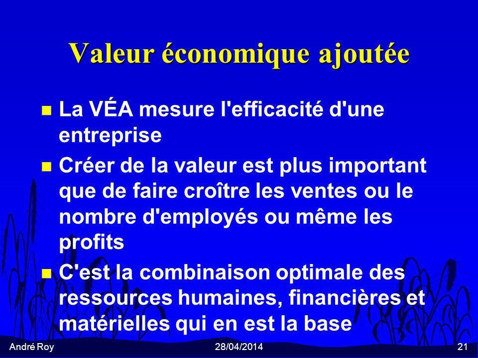 André Roy28/04/201421 Valeur économique ajoutée n La VÉA mesure l efficacité d une entreprise n Créer de la valeur est plus important que de faire croître les ventes ou le nombre d employés ou même les profits n C est la combinaison optimale des ressources humaines, financières et matérielles qui en est la base