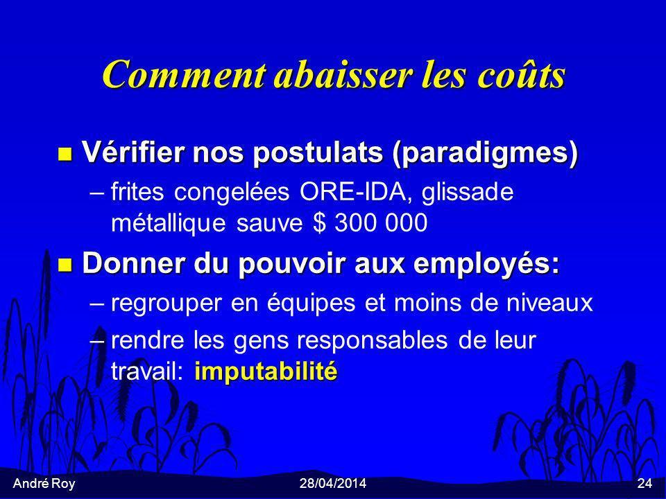 André Roy28/04/201424 Comment abaisser les coûts n Vérifier nos postulats (paradigmes) –frites congelées ORE-IDA, glissade métallique sauve $ 300 000