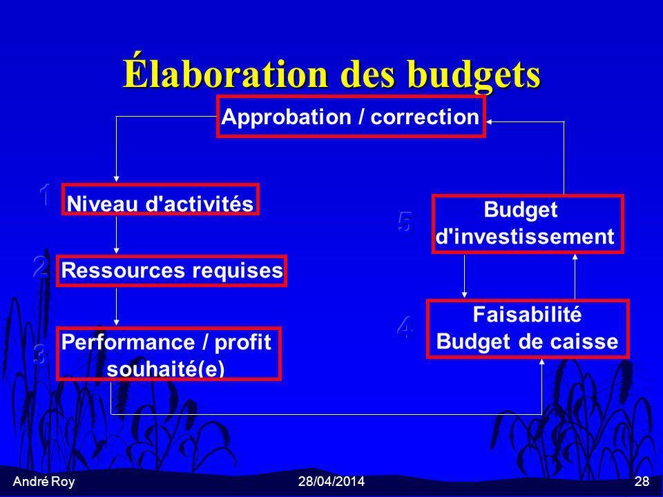 André Roy28/04/201428 Élaboration des budgets Approbation / correction Niveau d activités Ressources requises Performance / profit souhaité(e) Faisabilité Budget de caisse Budget d investissement
