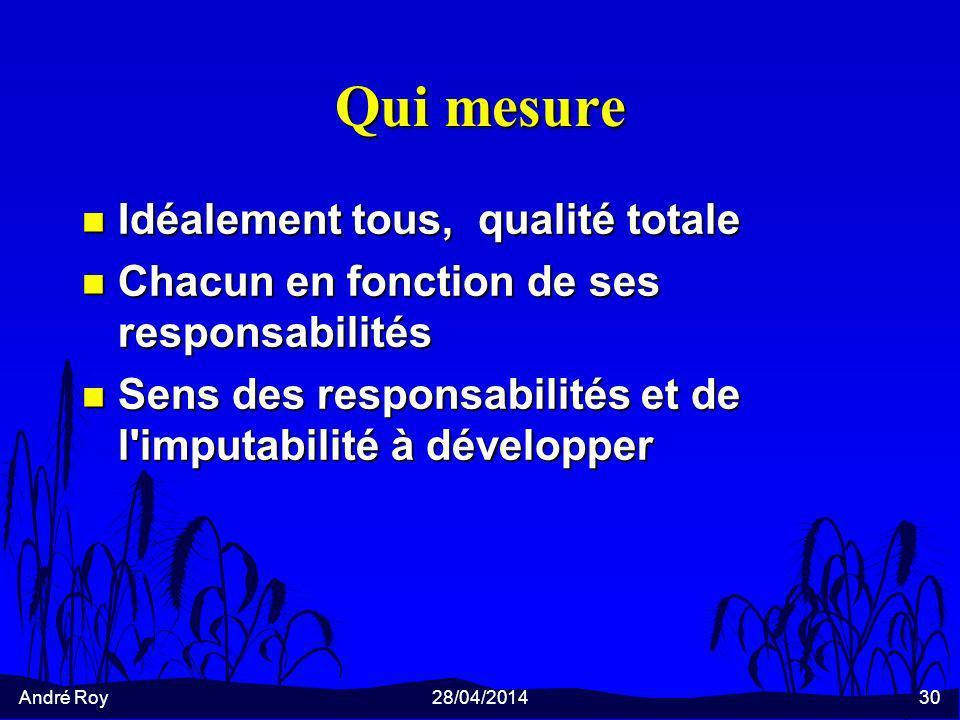 André Roy28/04/201430 Qui mesure n Idéalement tous, qualité totale n Chacun en fonction de ses responsabilités n Sens des responsabilités et de l imputabilité à développer