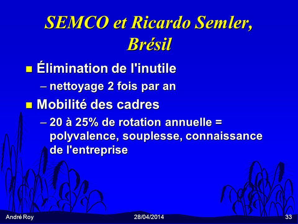 André Roy28/04/201433 SEMCO et Ricardo Semler, Brésil n Élimination de l inutile –nettoyage 2 fois par an n Mobilité des cadres –20 à 25% de rotation annuelle = polyvalence, souplesse, connaissance de l entreprise