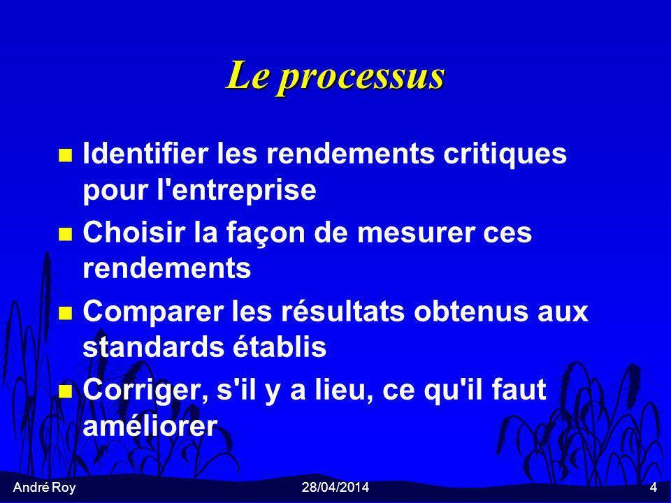 André Roy28/04/20144 Le processus n Identifier les rendements critiques pour l'entreprise n Choisir la façon de mesurer ces rendements n Comparer les