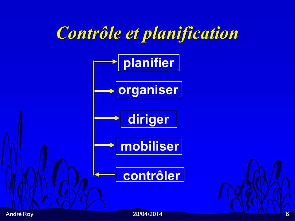 André Roy28/04/20146 Contrôle et planification planifier organiser diriger mobiliser contrôler