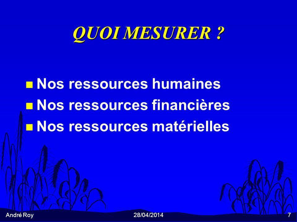 André Roy28/04/20147 QUOI MESURER ? n Nos ressources humaines n Nos ressources financières n Nos ressources matérielles