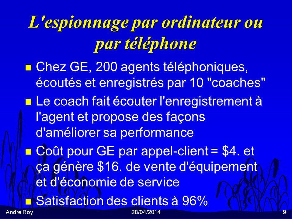 André Roy28/04/20149 L espionnage par ordinateur ou par téléphone n Chez GE, 200 agents téléphoniques, écoutés et enregistrés par 10 coaches n Le coach fait écouter l enregistrement à l agent et propose des façons d améliorer sa performance n Coût pour GE par appel-client = $4.