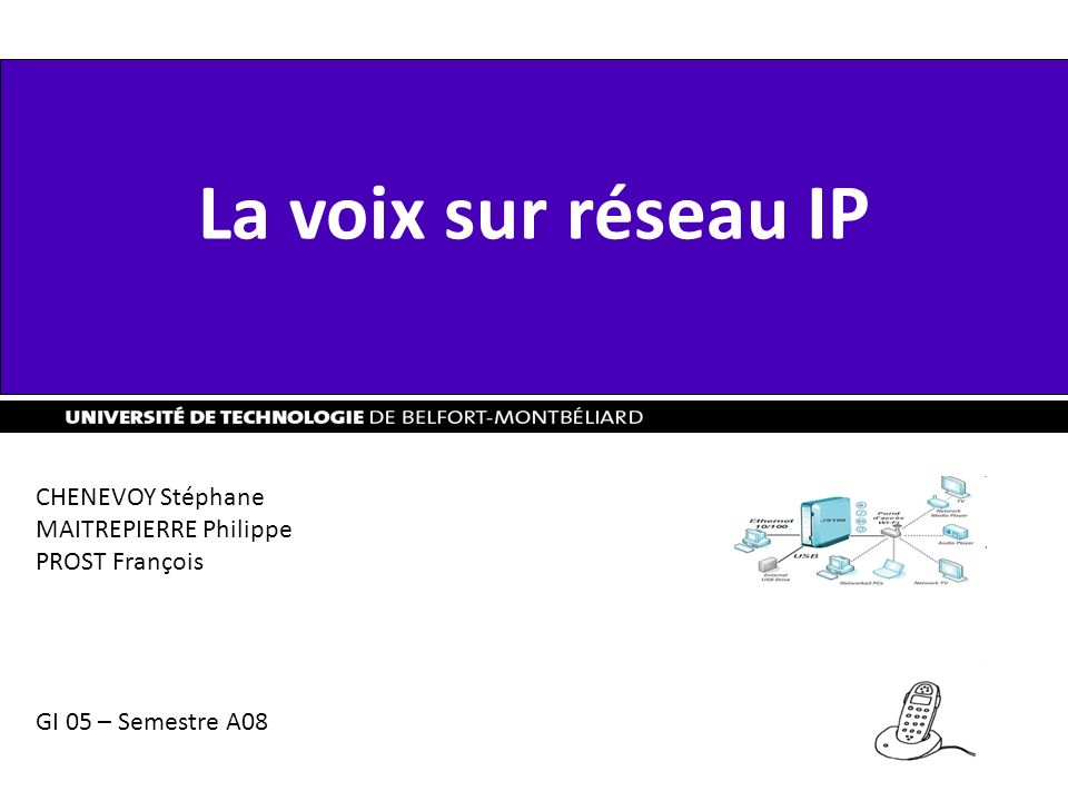 La voix sur réseau IP CHENEVOY Stéphane MAITREPIERRE Philippe PROST François GI 05 – Semestre A08