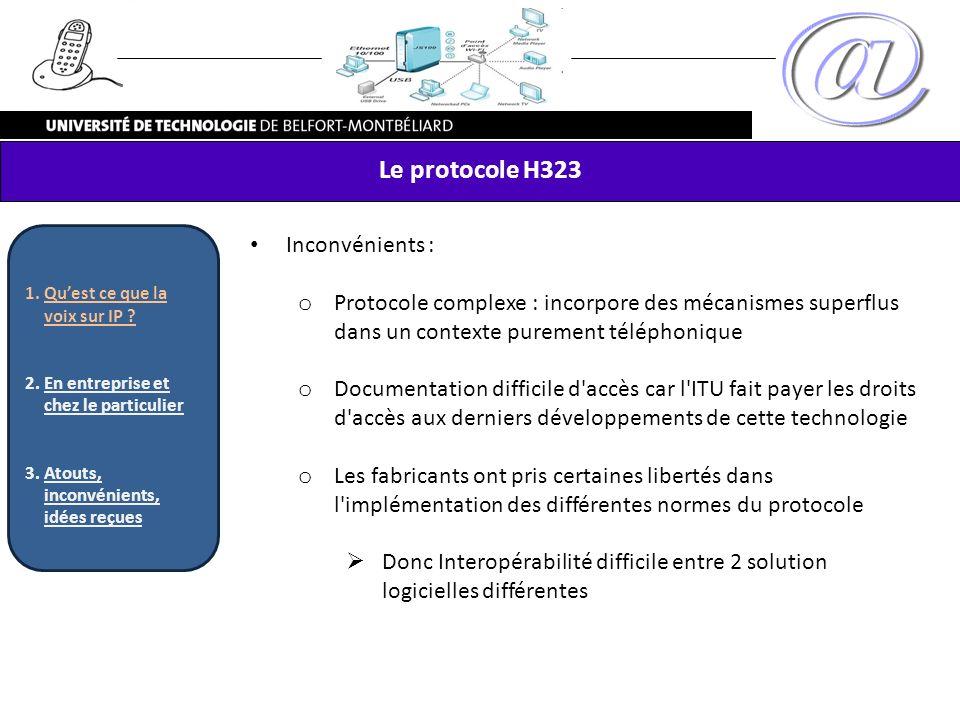 Le protocole H323 Inconvénients : o Protocole complexe : incorpore des mécanismes superflus dans un contexte purement téléphonique o Documentation dif