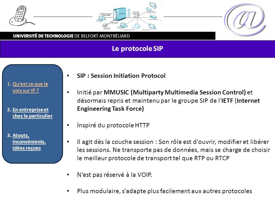 SIP : Session Initiation Protocol Initié par MMUSIC (Multiparty Multimedia Session Control) et désormais repris et maintenu par le groupe SIP de l'IET