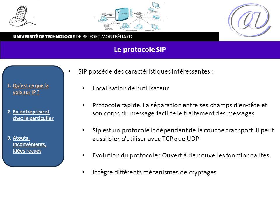 Le protocole SIP SIP possède des caractéristiques intéressantes : Localisation de lutilisateur Protocole rapide. La séparation entre ses champs d'en-t