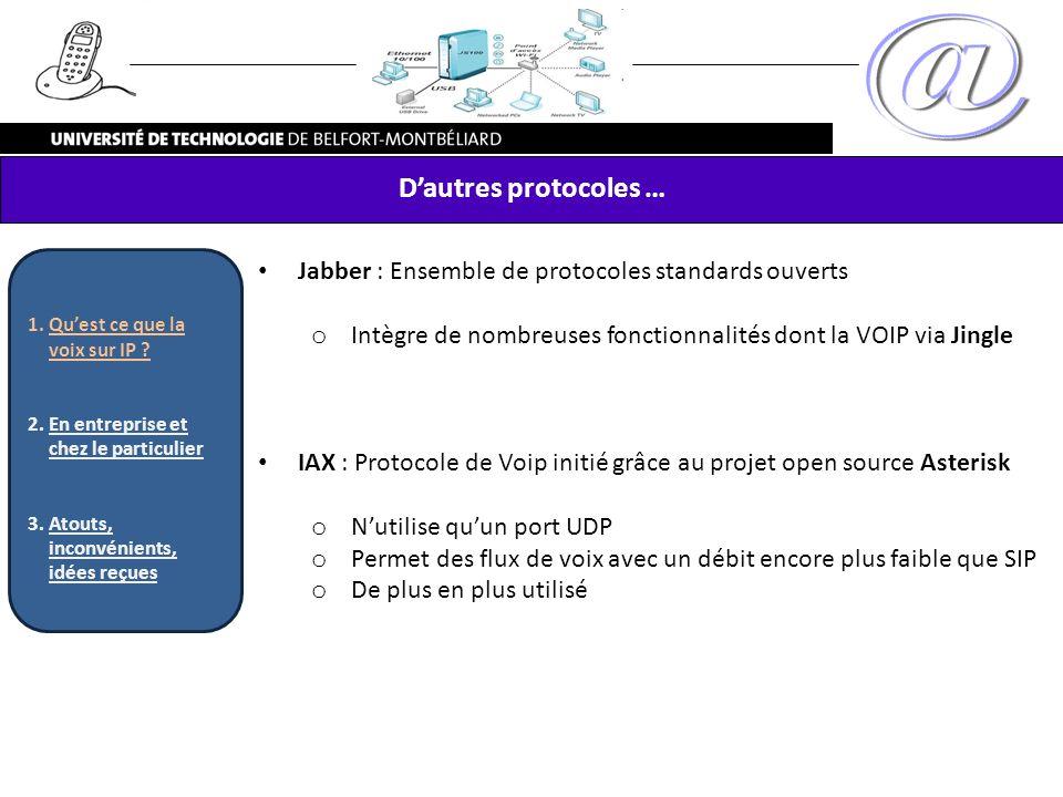 Dautres protocoles … Jabber : Ensemble de protocoles standards ouverts o Intègre de nombreuses fonctionnalités dont la VOIP via Jingle IAX : Protocole