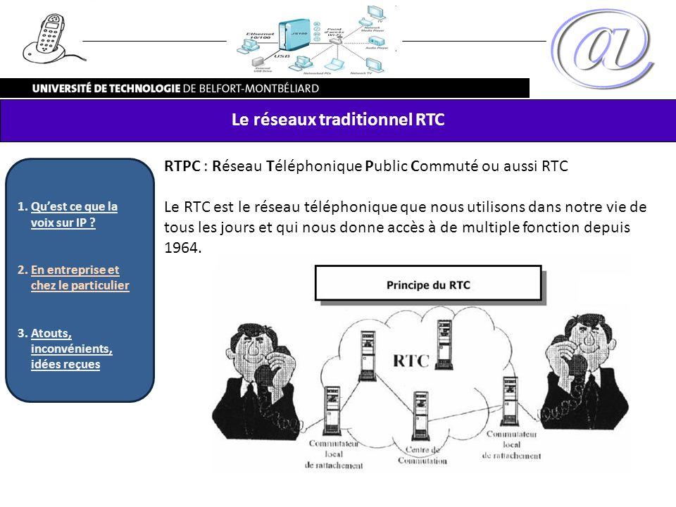 RTPC : Réseau Téléphonique Public Commuté ou aussi RTC Le RTC est le réseau téléphonique que nous utilisons dans notre vie de tous les jours et qui no