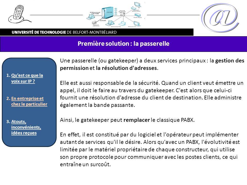 Une passerelle (ou gatekeeper) a deux services principaux : la gestion des permission et la résolution d'adresses. Elle est aussi responsable de la sé