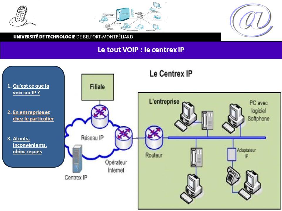 Le tout VOIP : le centrex IP 1.Quest ce que la voix sur IP ? 2.En entreprise et chez le particulier 3.Atouts, inconvénients, idées reçues