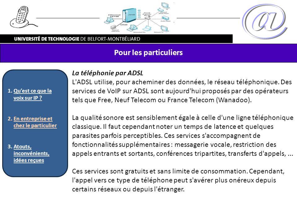 La téléphonie par ADSL L'ADSL utilise, pour acheminer des données, le réseau téléphonique. Des services de VoIP sur ADSL sont aujourd'hui proposés par
