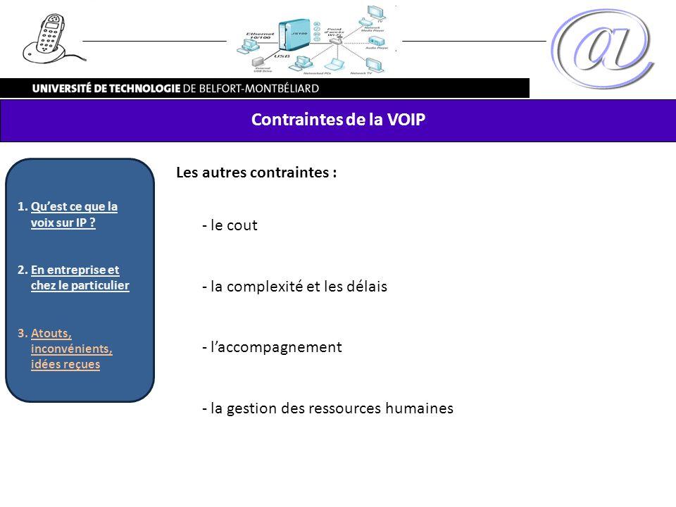 Contraintes de la VOIP Les autres contraintes : - le cout - la complexité et les délais - laccompagnement - la gestion des ressources humaines 1.Quest