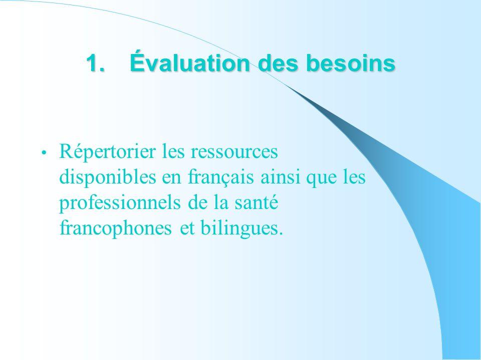 1.Évaluation des besoins Répertorier les ressources disponibles en français ainsi que les professionnels de la santé francophones et bilingues.
