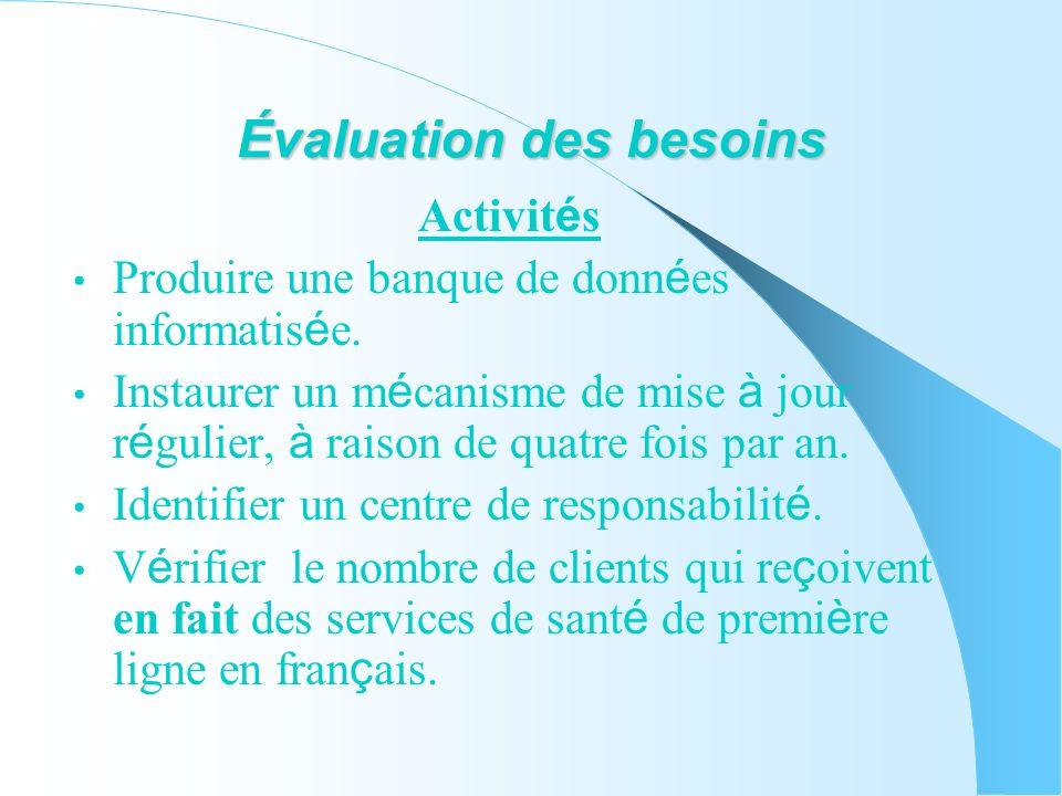 Évaluation des besoins Activit é s Produire une banque de donn é es informatis é e.