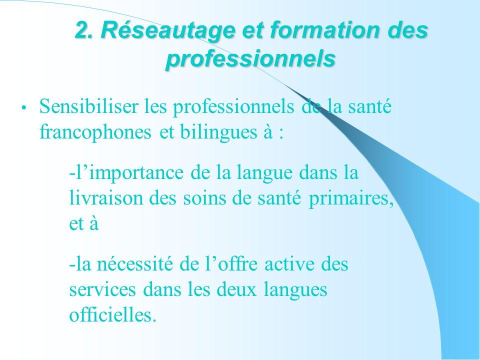 2. Réseautage et formation des professionnels Sensibiliser les professionnels de la santé francophones et bilingues à : -limportance de la langue dans
