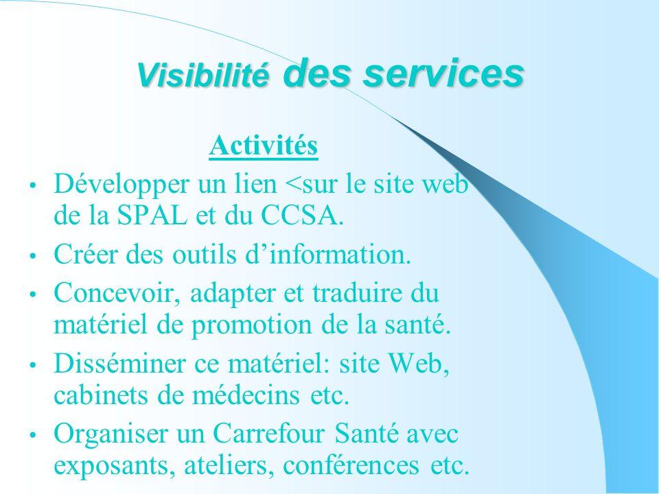 Visibilité des services Activités Développer un lien <sur le site web de la SPAL et du CCSA.
