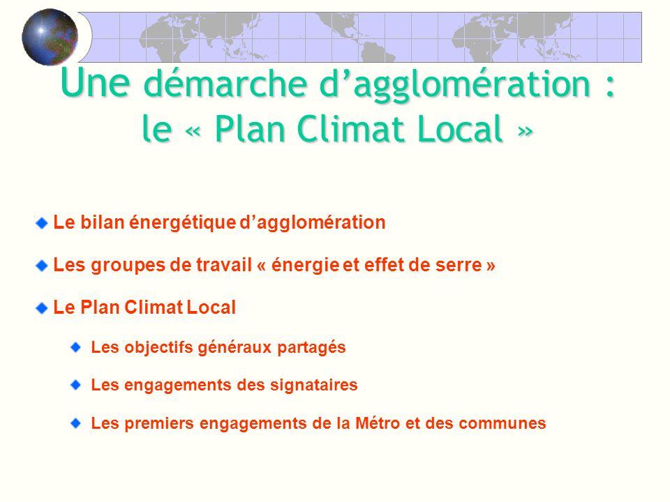 Le bilan énergétique dagglomération Les groupes de travail « énergie et effet de serre » Le Plan Climat Local Les objectifs généraux partagés Les engagements des signataires Les premiers engagements de la Métro et des communes Une démarche dagglomération : le « Plan Climat Local »